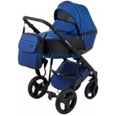 Универсальная коляска 2в1 Bair Mirello Plus кожа 100% MP-27 темно-синий перламутр - черный