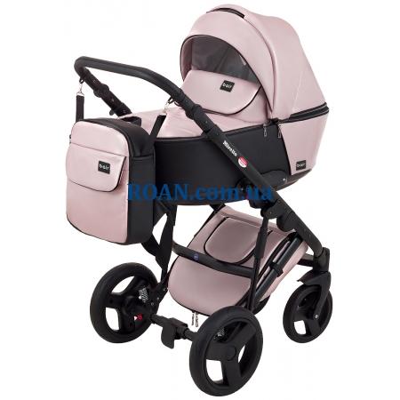 Универсальная коляска 2в1 Bair Mirello Plus кожа 100% MP-02 розовый перламутр - черный